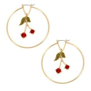 BCBG Crystal Cherry Drop Hoop Earrings NEW